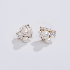 Ladies ' Elegantní Rose Gold Plated/Faux Pearl Perla Náušnice Jí