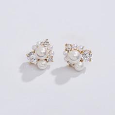 Ladies ' Elegant Rose Forgyldt/Imiteret Pearl Pearl øreringe Hende