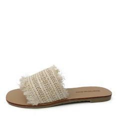 De mujer Lona Tacón plano Sandalias Planos con Piel zapatos