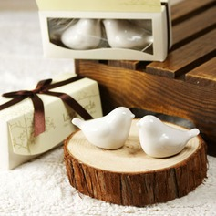 """Love Birds In The Window"" Ceramic Salt & Pepper Shakers With Ribbons"