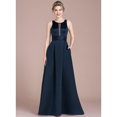 A-Line/Princess Scoop Neck Floor-Length Satin Bridesmaid Dress (007104736)