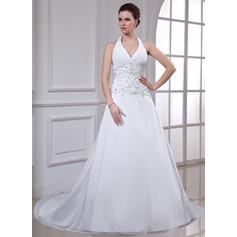 Corte A/Princesa Cabestro Cola capilla Chifón Vestido de novia con Bordado Bordado Lentejuelas