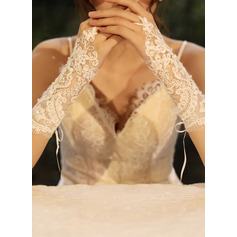 Tulle/Lace Elbow Length Bridal Gloves With Imitation Pearls (014219782)