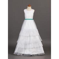 A-Line/Princess Floor-length Flower Girl Dress - Organza/Satin/Lace Sleeveless Scoop Neck With Ruffles/Sash