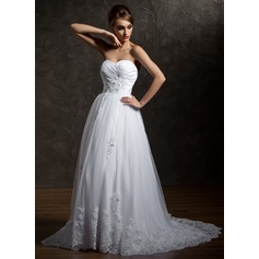 A-Line/Princess Sweetheart Court Train Taffeta Tulle Wedding Dress With Ruffle Beading Appliques Lace Sequins