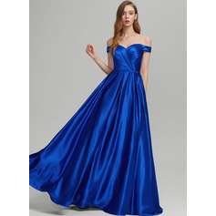A-Line Off-the-Shoulder Floor-Length Prom Dresses With Ruffle Pockets