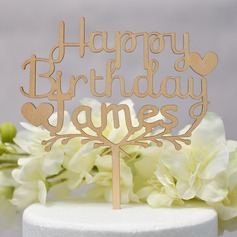 Personalized Happy Birthday Wood Cake Topper (Sold in a single piece)