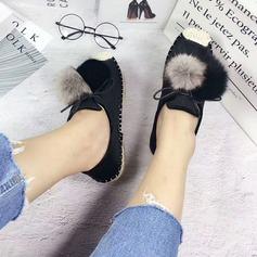 Femmes Suède Talon plat Chaussures plates Bout fermé avec Fourrure chaussures