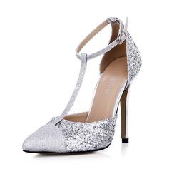 Kvinnor Glittrande Glitter Stilettklack Stängt Toe Pumps med Spänne