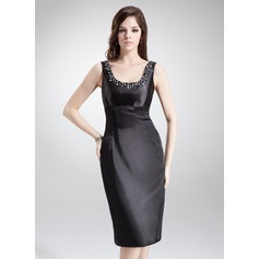 Sheath/Column Scoop Neck Knee-Length Charmeuse Mother of the Bride Dress With Beading