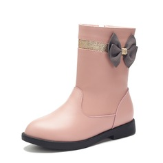 Girl's Real Leather Flat Heel Closed Toe Mid-Calf Boots Boots With Bowknot Zipper