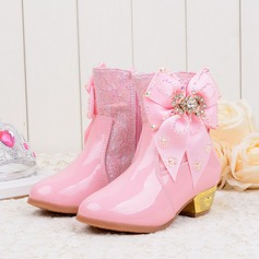 Girl's Mid-Calf Boots Leatherette Flat Heel Boots Flower Girl Shoes With Bowknot Rhinestone Zipper