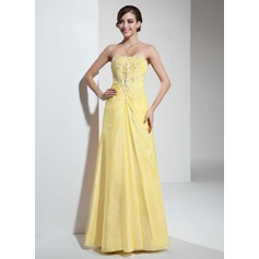 A-Line/Princess Sweetheart Floor-Length Taffeta Prom Dress With Ruffle Beading