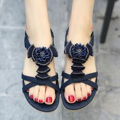 Kvinnor Konstläder Flat Heel Sandaler Platta Skor / Fritidsskor Peep Toe med Satäng Blomma Elastiskt band skor