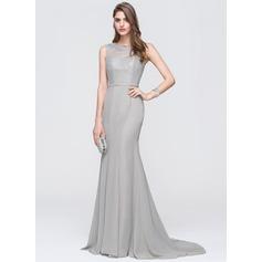 Trumpet/Mermaid Scoop Neck Sweep Train Chiffon Prom Dresses With Beading