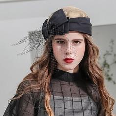 Ladies' Beautiful/Fashion/Glamourous/Elegant/Unique/Amazing/Eye-catching/Charming/Fancy/Romantic/Vintage/Artistic Raffia Straw With Bowknot/Tulle Beret Hat