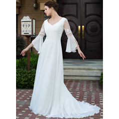 A-Line/Princess V-neck Court Train Chiffon Wedding Dress With Lace Beading (002026089)