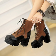 Women's Suede Chunky Heel Pumps Platform Martin Boots With Rivet Lace-up Split Joint shoes