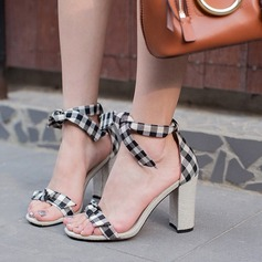 Women's Cloth Chunky Heel Sandals Peep Toe With Braided Strap shoes