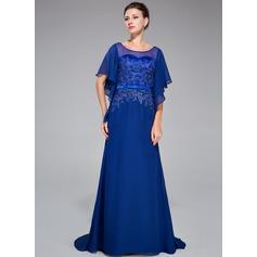 Trompete/Sereia Decote redondo Sweep/Brush trem Tecido de seda Vestido de festa com Renda Beading lantejoulas