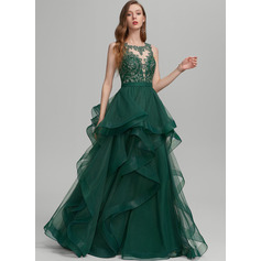 Ball-Gown/Princess Scoop Neck Floor-Length Tulle Evening Dress With Ruffle Lace (017235120)