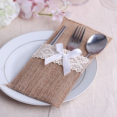 Simple Linen Cutlery Bag With Ribbons (Set of 6)