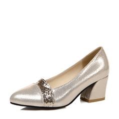 De mujer Brillo Chispeante Tacón ancho Salón Cerrados con Brillo Chispeante zapatos