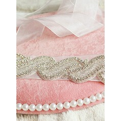 Beautiful Ribbon Sash With Rhinestones/Imitation Pearls (015101444)