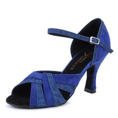 Women's Sparkling Glitter Nubuck Heels Latin Dance Shoes