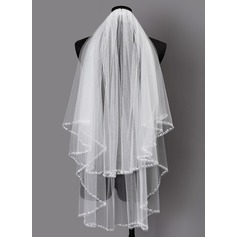Two-tier Beaded Edge Elbow Bridal Veils With Sequin
