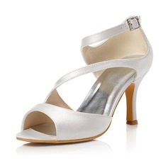 Women's Satin Stiletto Heel Peep Toe Sandals With Buckle (047048019)
