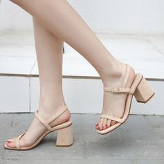 Женщины кожа Устойчивый каблук Сандалии На каблуках Босоножки обувь (087124348)