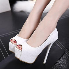 Women's Leatherette Stiletto Heel Pumps Platform Peep Toe With Animal Print shoes