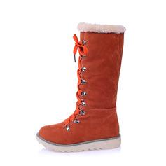 Femmes Suède Talon plat Bottes Bottes neige avec Dentelle chaussures