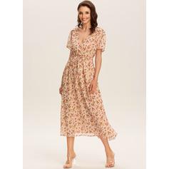 A-line V-Neck Polyester Dresses (293237646)