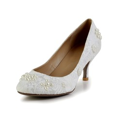 Women's Lace Satin Spool Heel Closed Toe Pumps With Beading