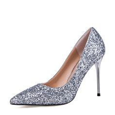 Kvinnor Glittrande Glitter Stilettklack Stängt Toe Pumps