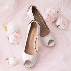 Women's Silk Like Satin Stiletto Heel Peep Toe Platform Pumps