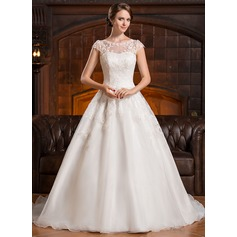 A-Line/Princess Scoop Neck Chapel Train Organza Wedding Dress With Appliques Lace (002056428)