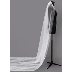 Uma camada Borda enfeitada Véus de noivas capela com Falso pérola