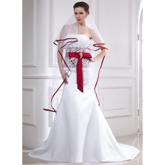 Two-tier Waltz Bridal Veils With Ribbon Edge (006025066)