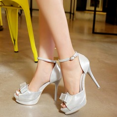 Women's Leatherette Stiletto Heel Sandals With Bowknot Buckle shoes