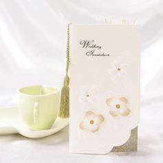 Florales Estilo Tri-Fold Invitation Cards con Borlas (Juego de 10)