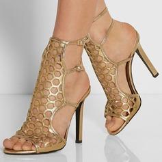 Vrouwen Kunstleer Stiletto Heel Sandalen met Gesp Hol-out schoenen