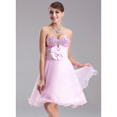 Empire Sweetheart Short/Mini Satin Organza Sequined Homecoming Dress With Ruffle Beading Flower(s) Bow(s) (022003368)