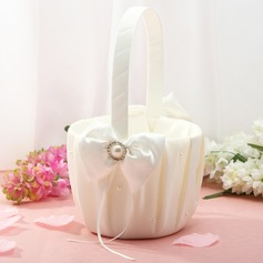 Classic Flower Basket in Satin With Ribbon & Faux Pearl (102018048)