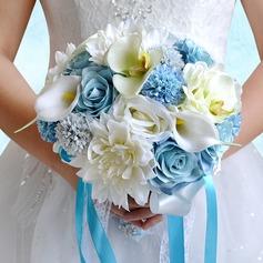 Élégante Rond Satiné/PE/Strass/Linge de soie Bouquets de mariée/Bouquets de demoiselle d'honneur