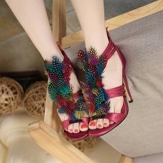 De mujer Cuero Tacón stilettos Sandalias Encaje con Pluma zapatos