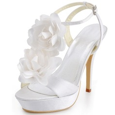 Women's Satin Stiletto Heel Pumps Sandals With Buckle Satin Flower