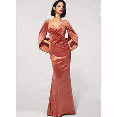 Sheath/Column V-neck Floor-Length Velvet Evening Dress